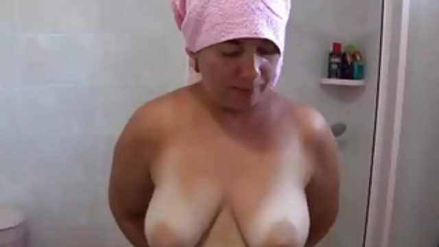 Fatma in Bath striptease and Masturbation  bbw milf mature